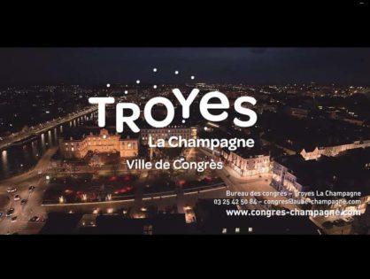Le Palais des Congrès et l'Espace Argence de Troyes en aérien de nuit